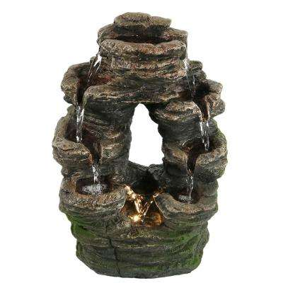 14 in. Split Mossy Rock Tabletop Water Falls Fountain with LED Light