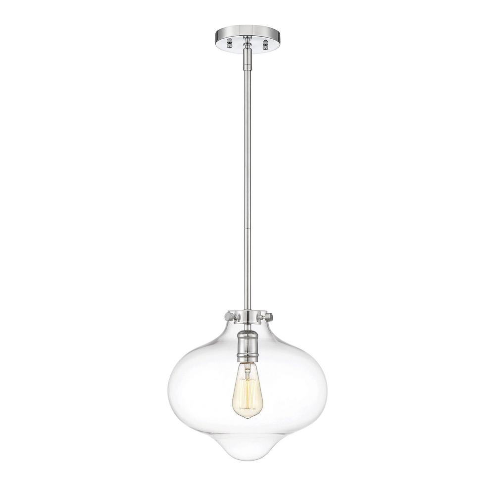 1-Light Polished Chrome Pendant with Clear Glass