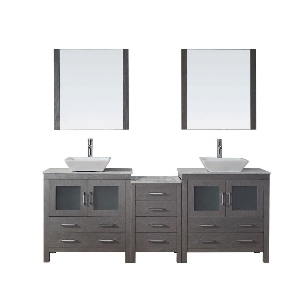 Virtu USA Dior 82 in. Double Vanity in Grey Oak with Marble Vanity Top in White and Mirrors