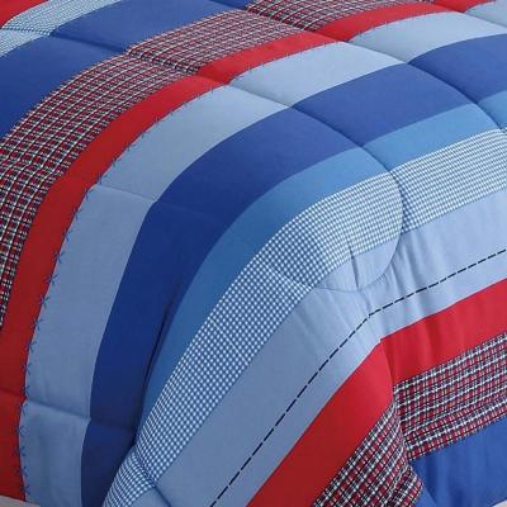 Sebastian 3-Piece Blue Stripe Twin Comforter Set