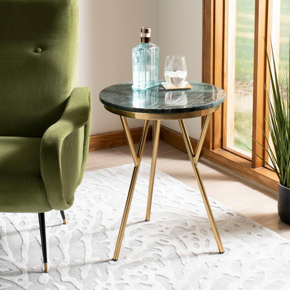 Safavieh Coletta Dark Green/Brass End Table