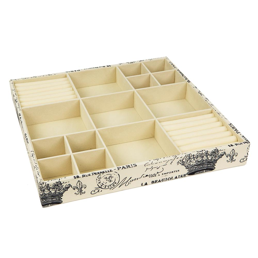 Home Basics Printed Canvas Jewlry Organizer Store and organize your jewelry and other essentials in this open jewelry organizer. Measures 15 x 15 x 2. Made of printed canvas with a vintage Parisian design. Features 18 compartments to organize make-up jewelry, keys and many more home items.
