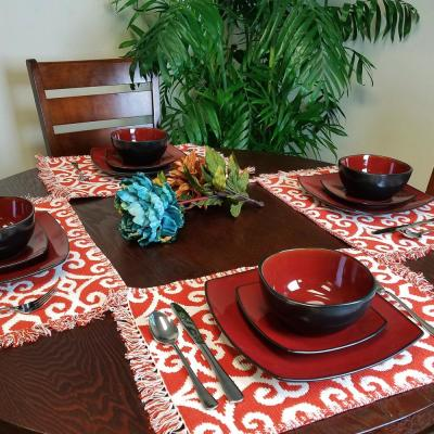 Soho Lounge 12-Piece Casual Red Stoneware Dinnerware Set (Service for 4)