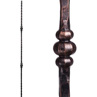 Tuscan Square Hammered 44 in. x 0.5625 in. Oil Rubbed Bronze Double Knuckle Solid Wrought Iron Baluster