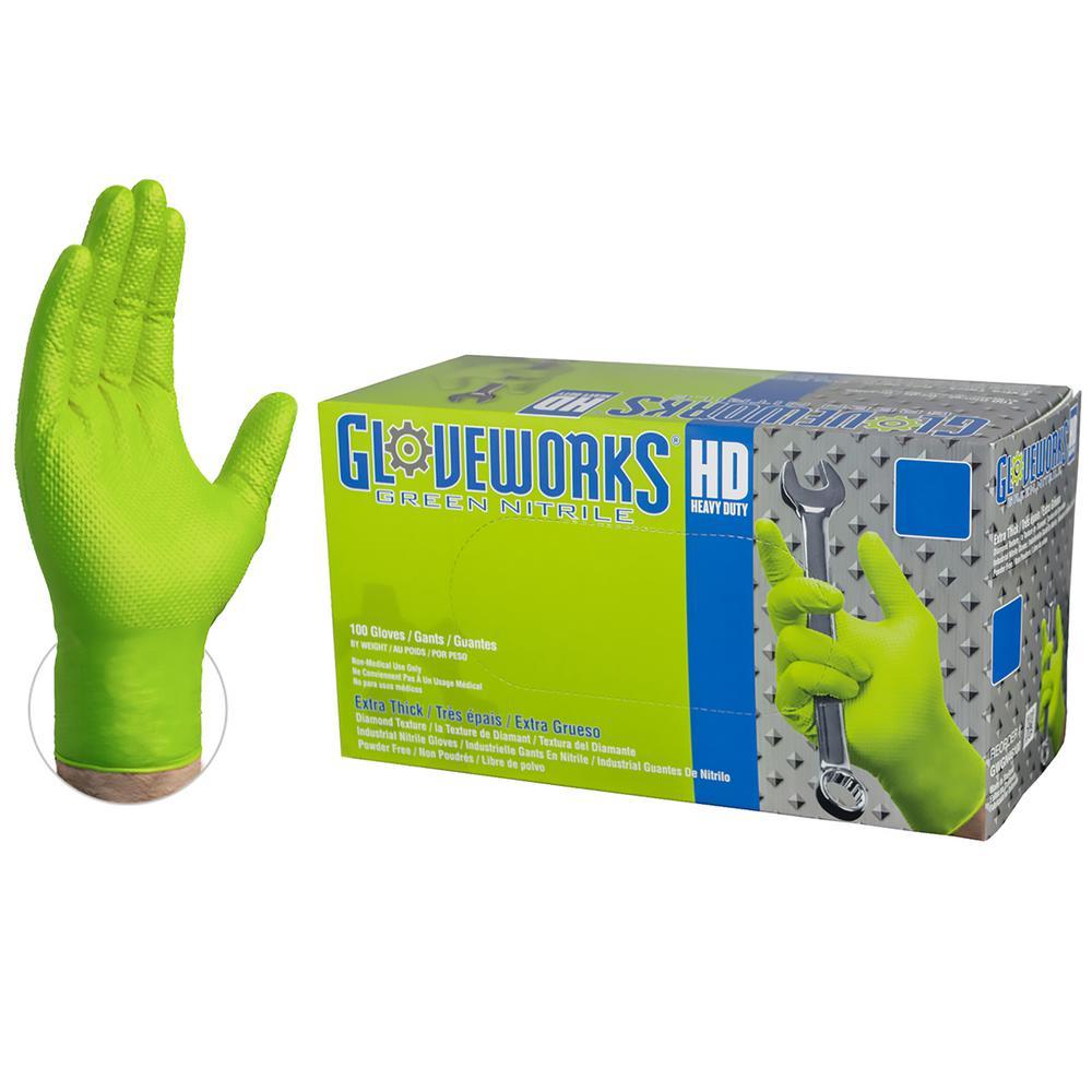 Medium Diamond Texture Green Nitrile Industrial Powder-Free Disposable Gloves (100-Count)