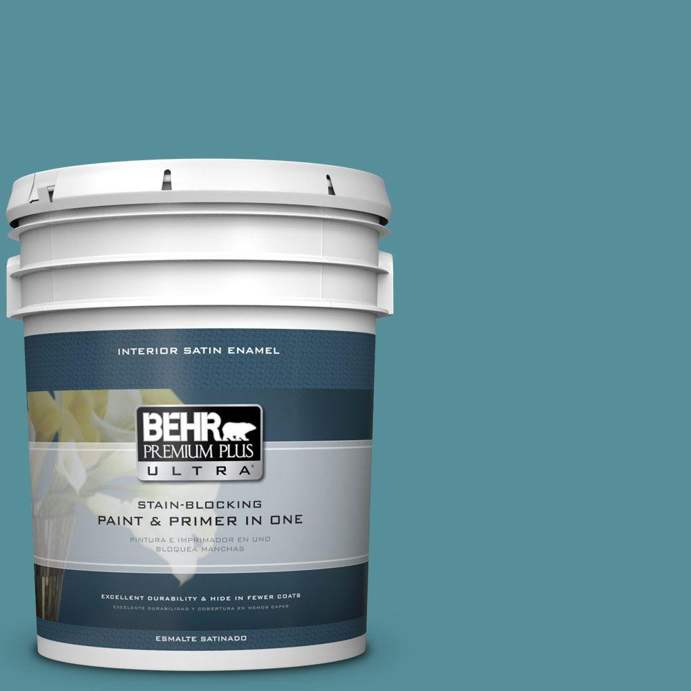 behr premium plus ultra 5 gal hdc ac 23a cabana blue satin enamel interior paint 775405 the. Black Bedroom Furniture Sets. Home Design Ideas