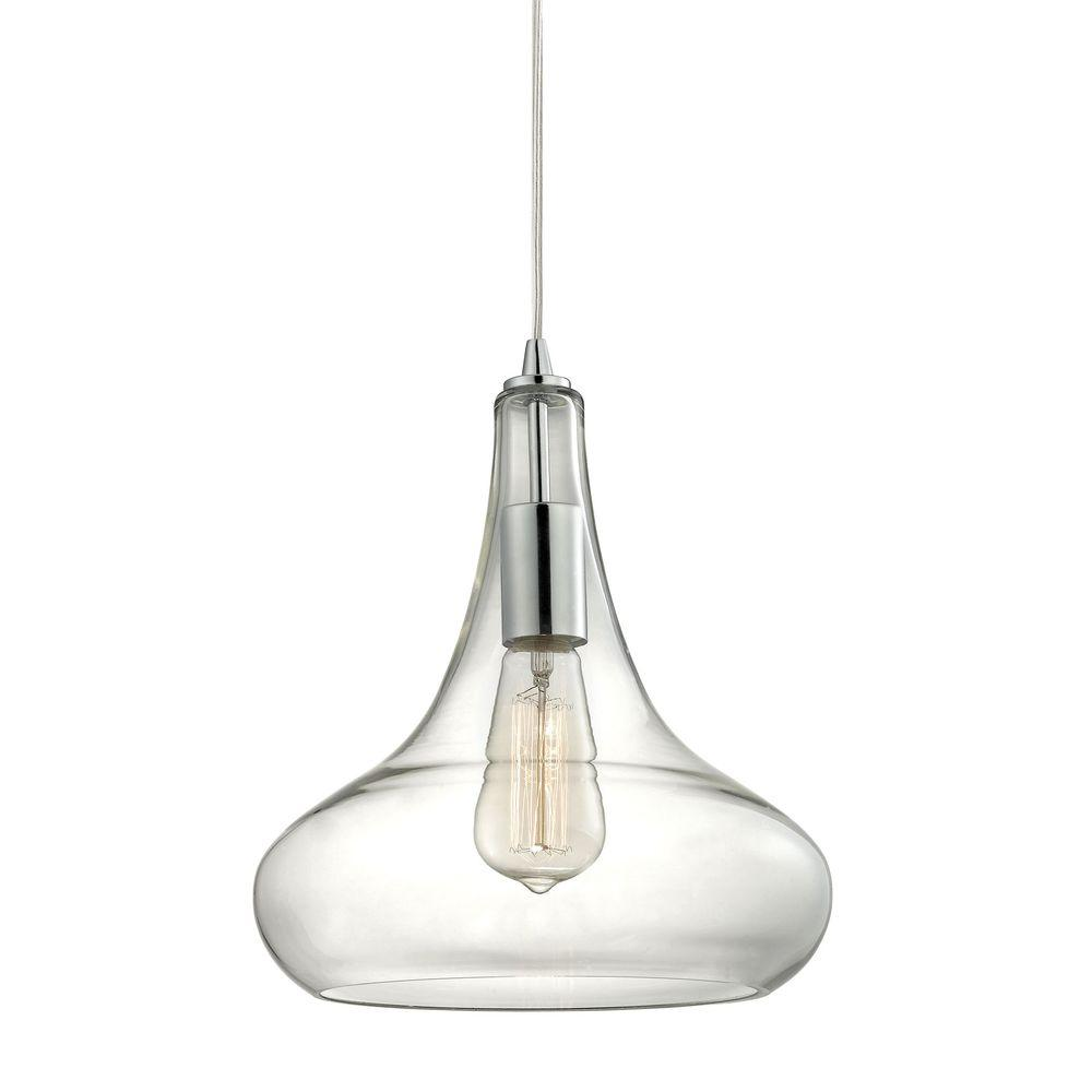 Charmant Home Decorators Collection 1 Light Polished Chrome Pendant With Clear Glass  Shade And Vintage Bulb TNP22401   The Home Depot