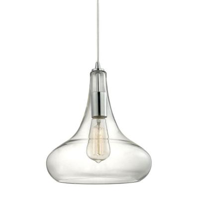 1-Light Polished Chrome Pendant with Clear Glass Shade and Vintage Bulb