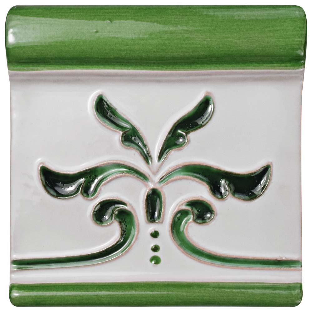 Novecento Friso Evoli Verdin 5-1/4 in. x 5-1/4 in. Ceramic Wall Trim Tile