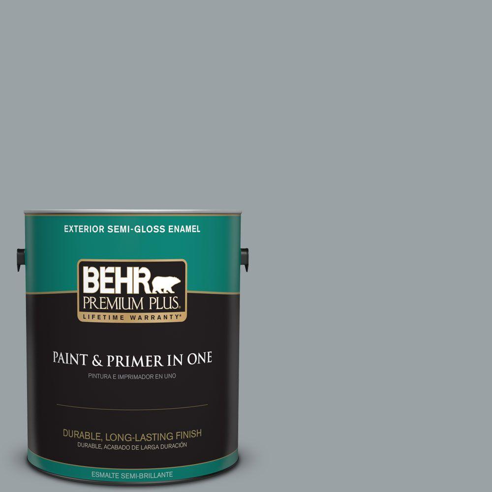 1 gal. #HDC-SM16-02 River Rock Grey Semi-Gloss Enamel Exterior Paint
