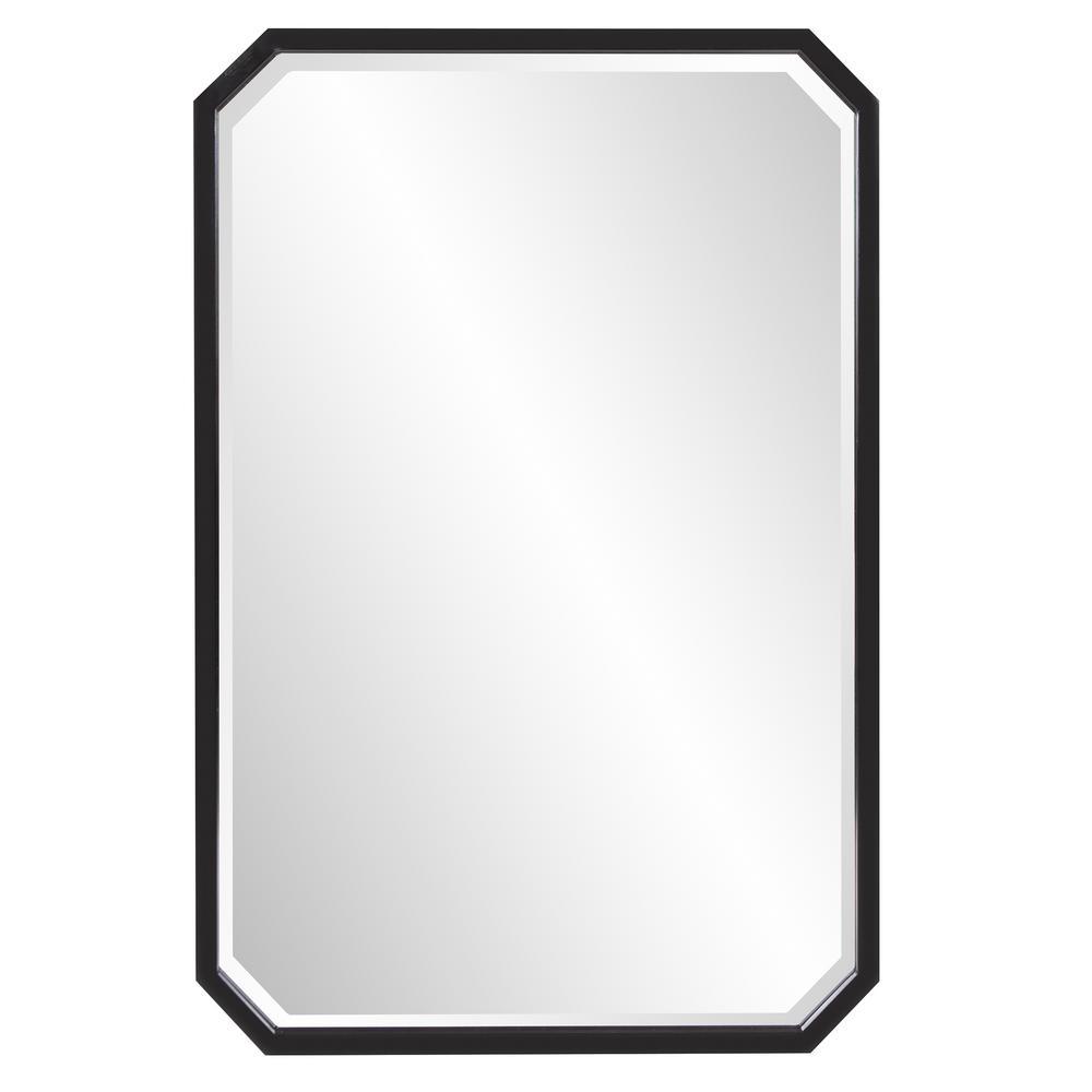 Medium Octagonal Black Beveled Glass Classic Accent Mirror (36 in. H x 24 in. W)