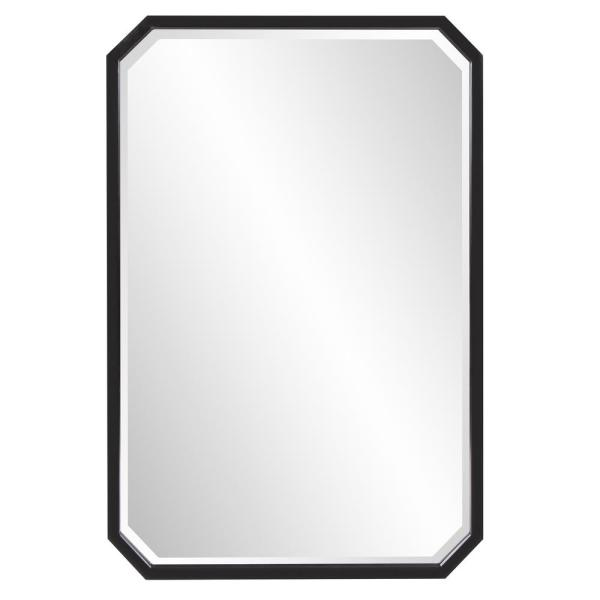 Medium Octagonal Black Beveled Glass Classic Accent Mirror (36 in. H x 24 in. W)