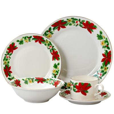 Poinsetta Holiday 20-Piece Holiday White/Glossy finish Ceramic Dinnerware Set (Service for 4)