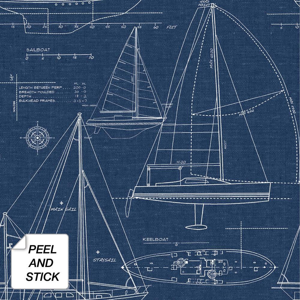 Yacht Club Coastal Blue Vinyl Peelable Roll (Covers 30.75 sq. ft.)