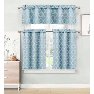 Longoria Light Blue Homemaison Jacquard Kitchen Curtain Set 56 in. W x 15 in. L in (3-Piece)