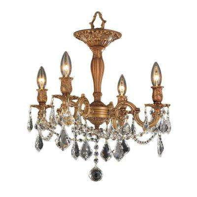 Windsor Collection 4-Light French Gold and Clear Crystal Ceiling Light