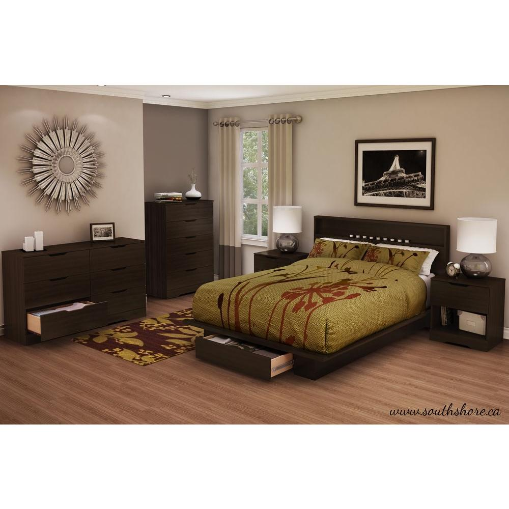 South Shore Holland 1 Drawer Full/Queen Size Platform Bed In Chocolate