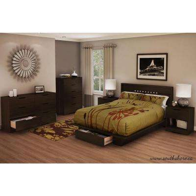 Holland 1-Drawer Full/Queen-Size Platform Bed in Chocolate
