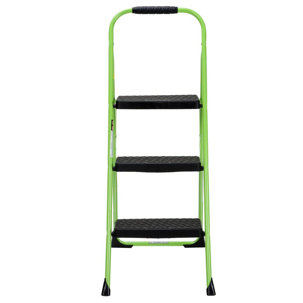 Swell Cosco 3 Step Steel Big Step Folding Step Stool Type 3 With Rubber Hand Grip In Green Beatyapartments Chair Design Images Beatyapartmentscom