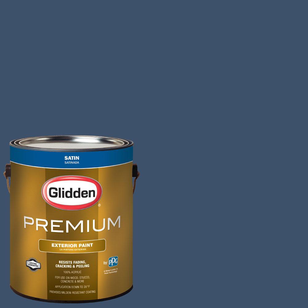Glidden Premium 1 gal. #wnba-035A Indiana Fever Blue Satin Exterior Paint
