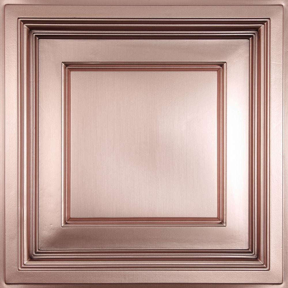 Ceilume Madison Faux Copper Evaluation Sample, Not suitable for installation - 2 ft. x 2 ft. Coffered Ceiling Panel