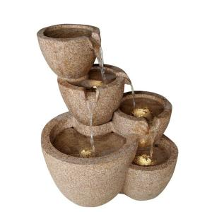 Fountain Cellar Multi Pots Sandstone Outdoor/indoor Water Fountain with LED Lights by Fountain Cellar