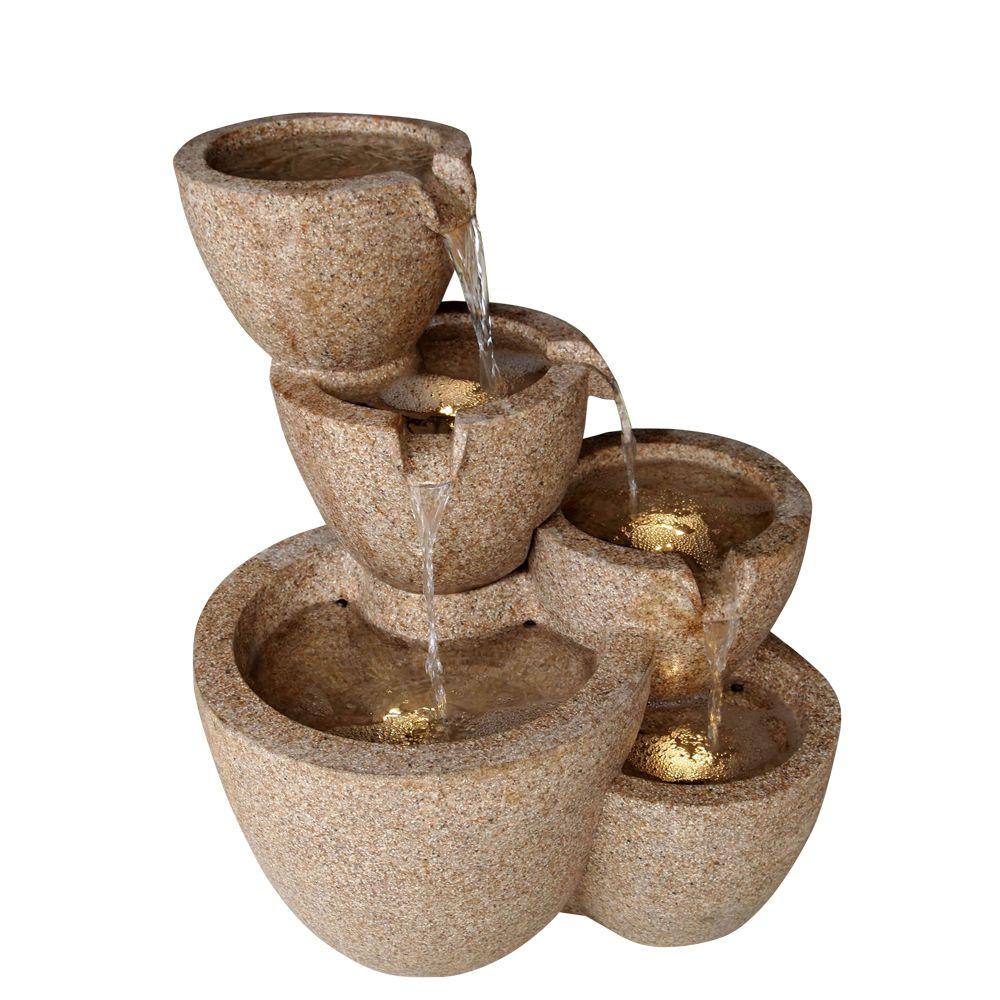 Fountain Cellar Multi Pots Sandstone Outdoor Indoor Water With Led Lights