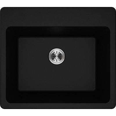 Quartz Classic Perfect Drain Drop-In 25 in. Laundry Sink in Black