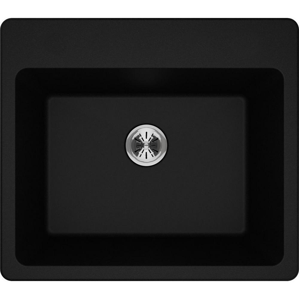 Quartz Classic Perfect Drain Drop-In 25 in. Laundry Sink in Black