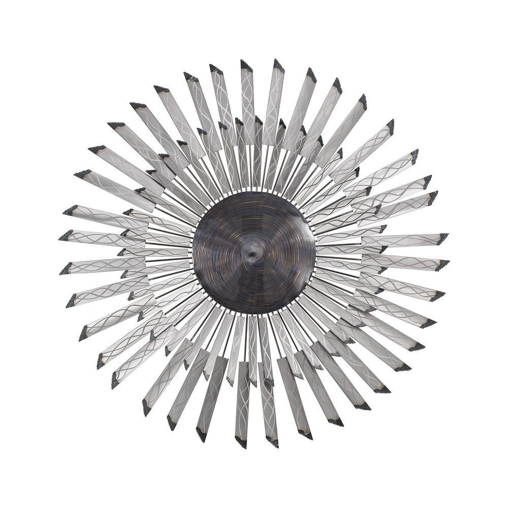 Titan Lighting Phantom 38 in. Round Metal In Petroleum Swirl And Gloss Aluminum Wall Art