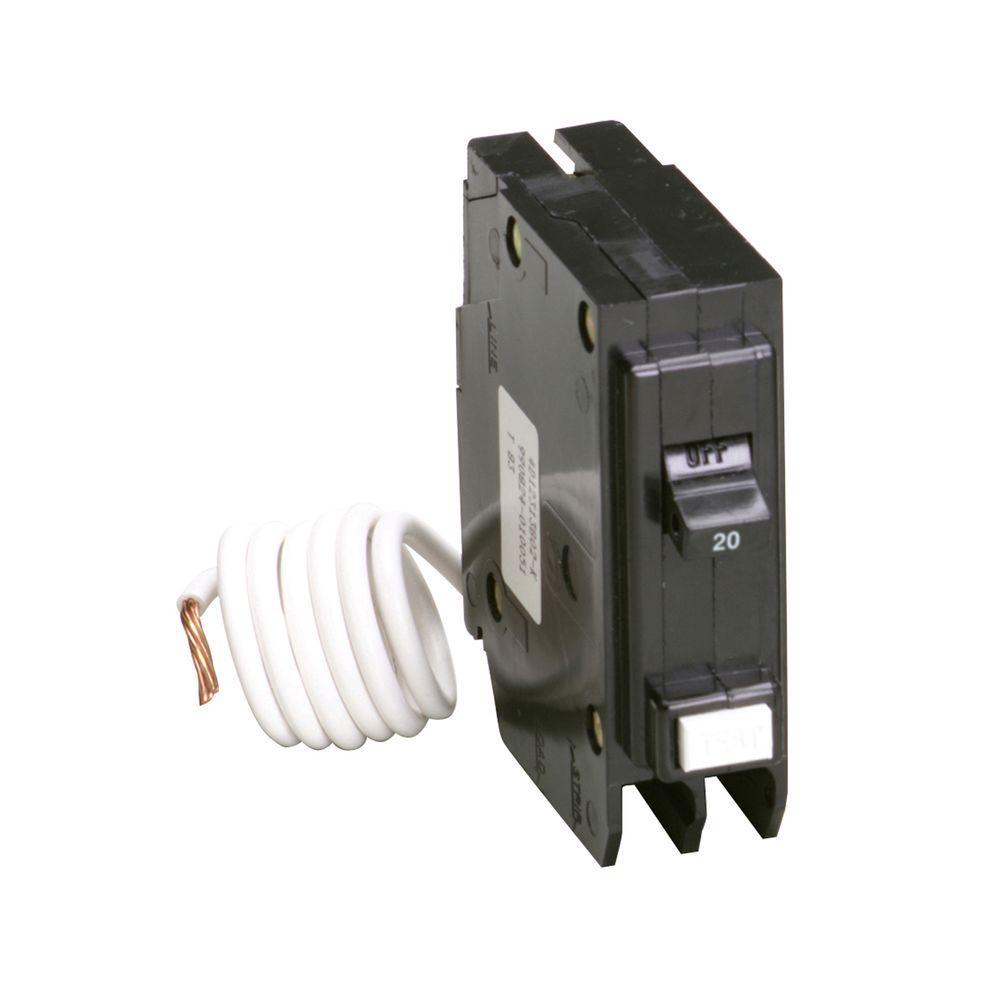 BR 20 Amp Single Pole Self Test Ground Fault Circuit Breaker