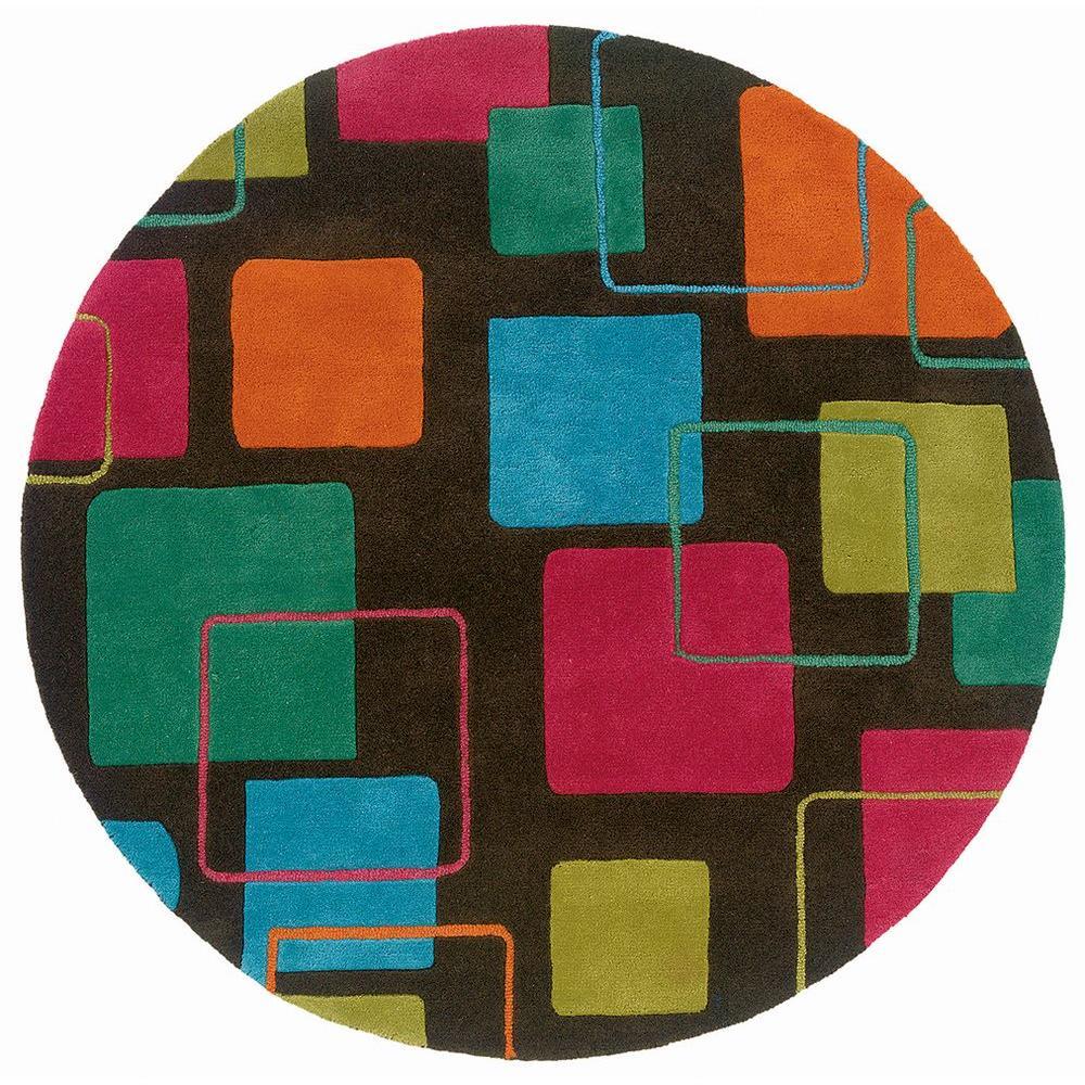 Contemporary Vibrance Black/Multi 5 ft. x 5 ft. Plush Indoor Round