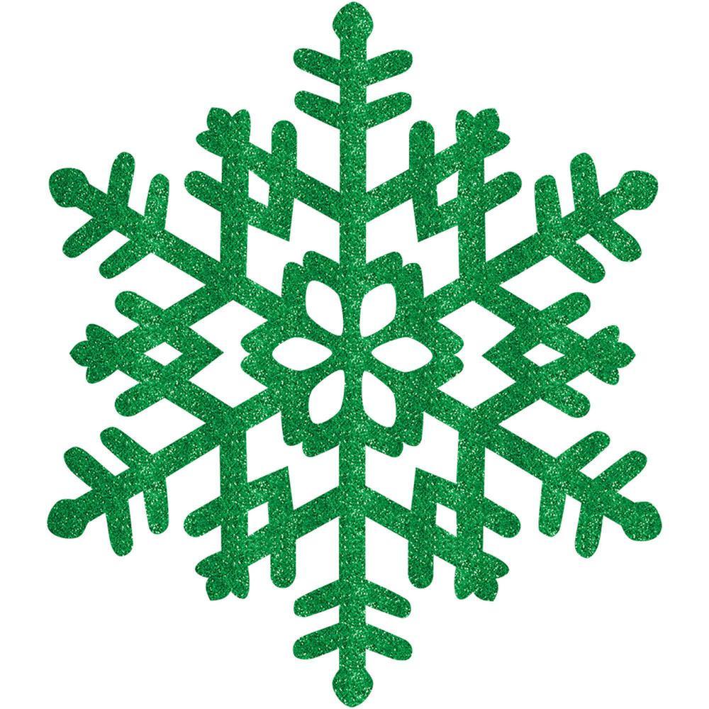 15 in. Green Glitter Snowflake (4-Pack)