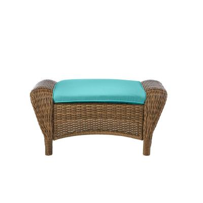 Beacon Park Brown Wicker Outdoor Patio Ottoman with CushionGuard Seaglass Turquoise Cushions