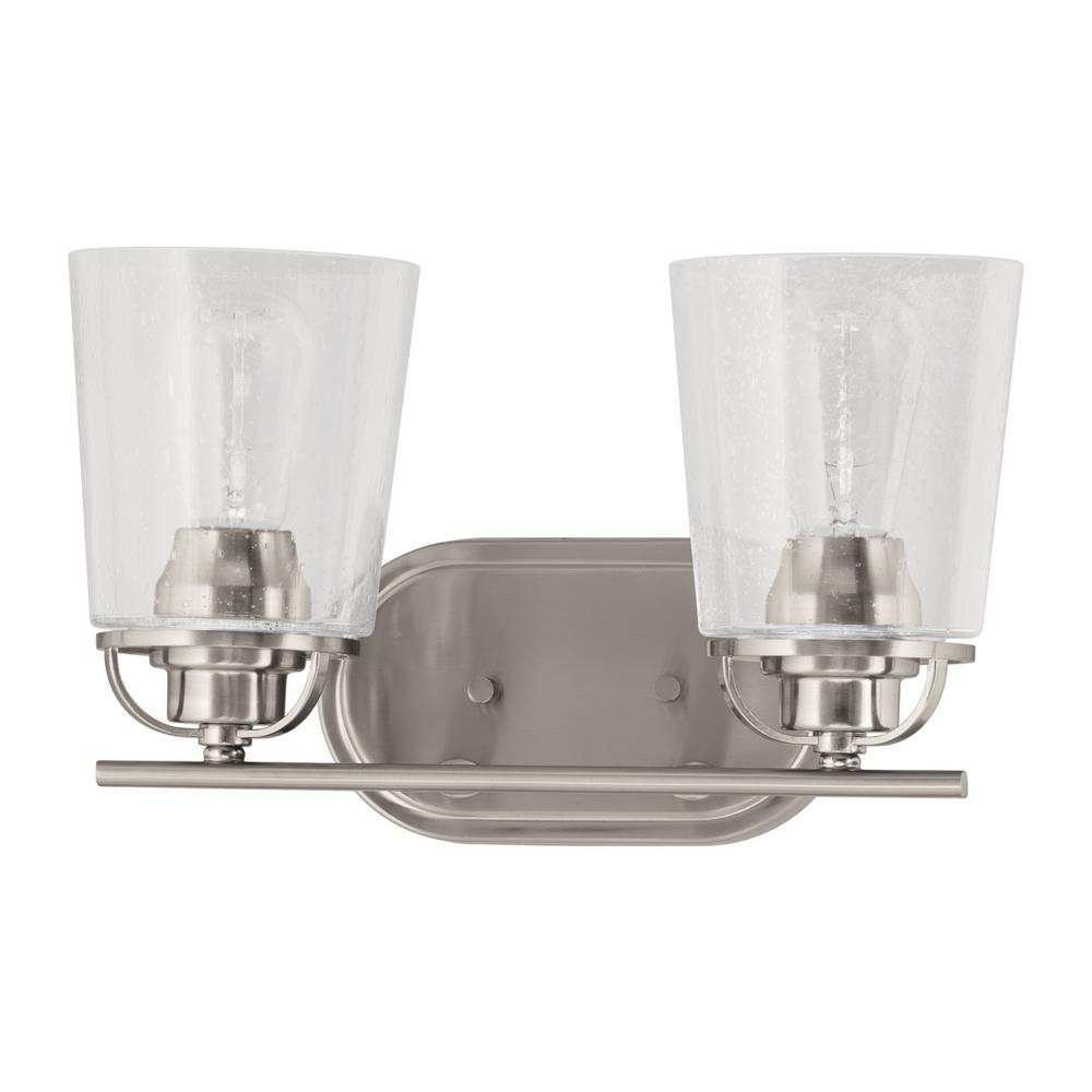 Progress Lighting Inspiration Collection 2-Light Brushed Nickel Vanity Light with Clear Seeded ...