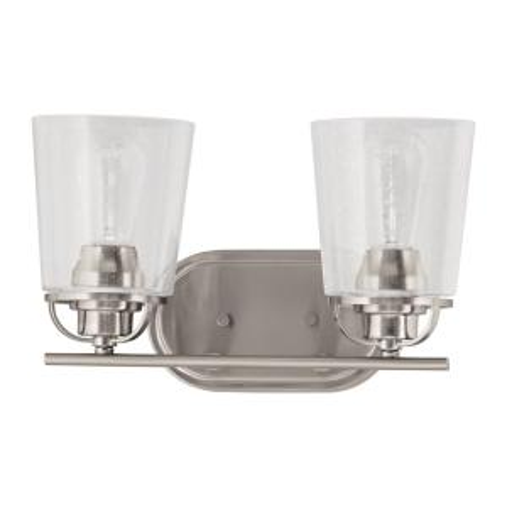 Inspiration 2-Light Brushed Nickel Bathroom Vanity Light with Glass Shades