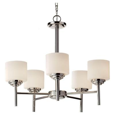Malibu 25 in. W 5-Light Brushed Nickel Contemporary Chandelier with Opal Etched Glass Shades