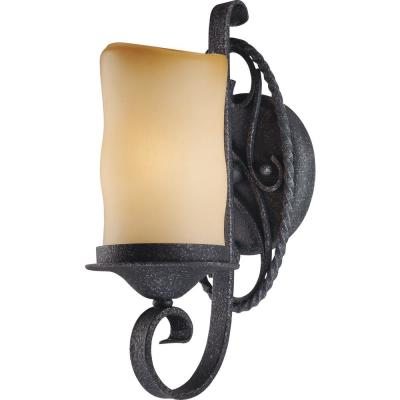 Sevilla 1-Light Indoor Antique Wrought Iron Bath / Vanity Wall Mount Sconce w/ Candle-Shaped Sandstone Glass Shade