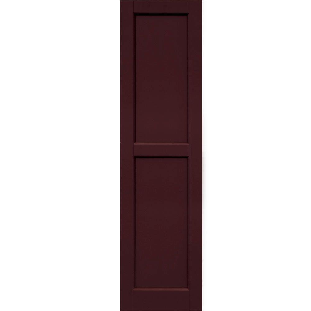 Winworks Wood Composite 15 in. x 57 in. Contemporary Flat Panel Shutters Pair #657 Polished Mahogany