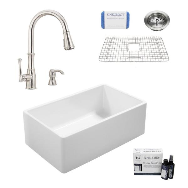 Ward All-in-One Farmhouse Fireclay 33 in. Single Bowl Kitchen Sink with Pfister Wheaton Faucet and Drain