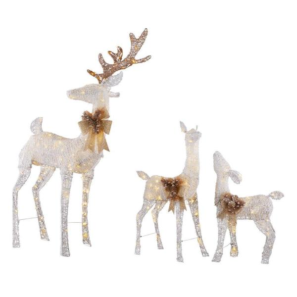 Home Accents Holiday Sweet Serenity 63 In Deer 36 In Doe And 28 In Fawn Pre Lit Led Yard Decor Set Ty449 613 1711 The Home Depot