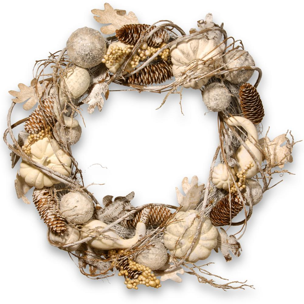 20 in. White Pumpkin Wreath