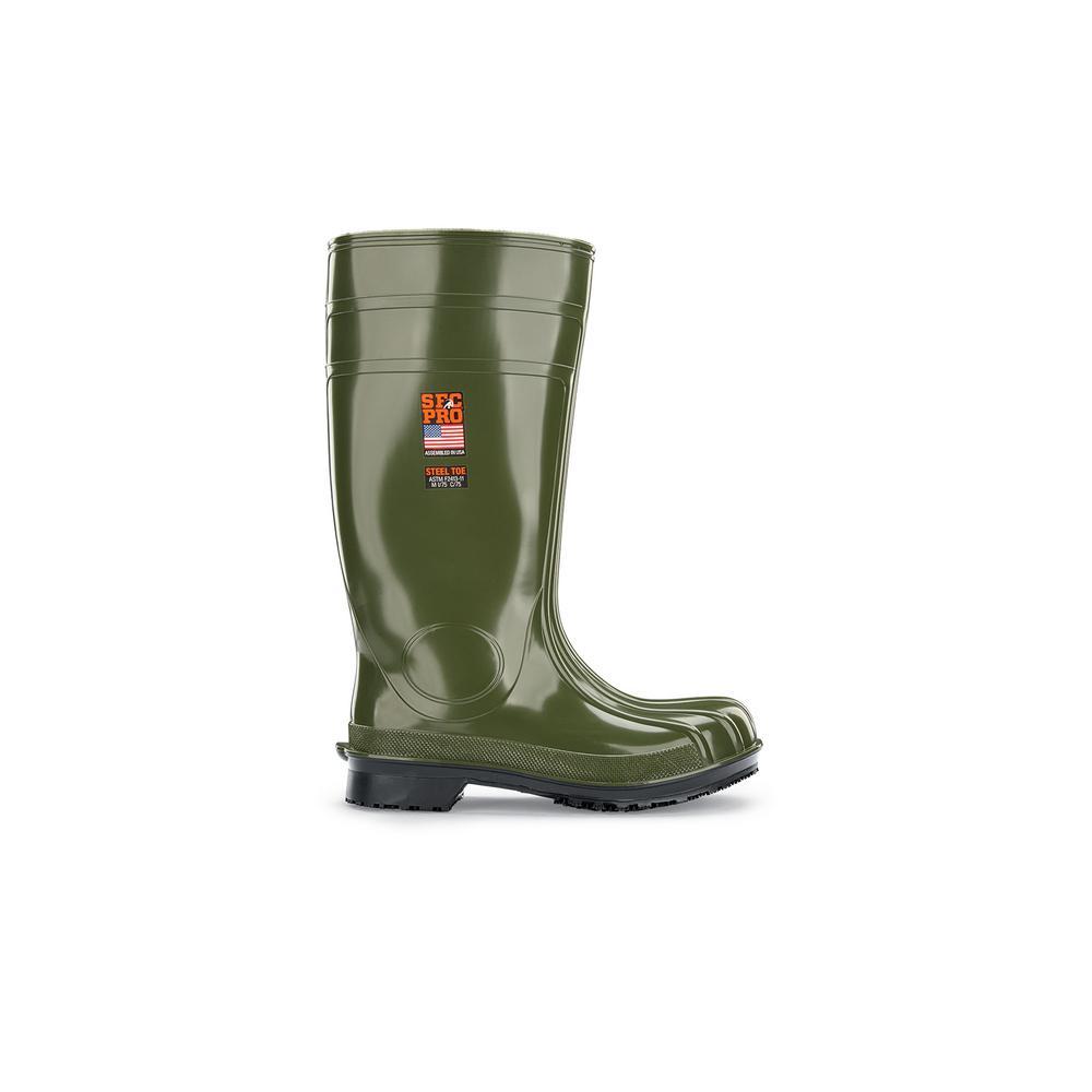 Guardian IV ST Unisex Size 6M Green PVC Slip-Resistant Steel Toe Work Boot