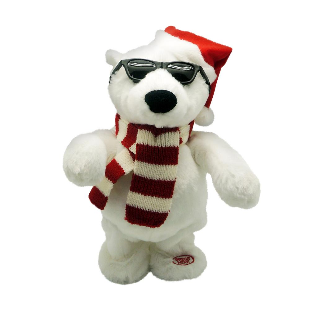 10 in. Animated Dancing Polar Bear with Santa's Hat and Scarf