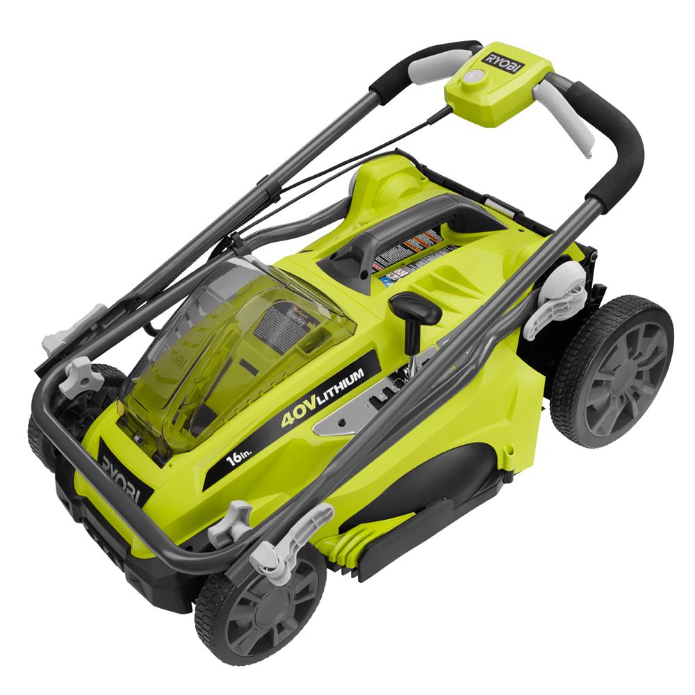 cordless electric lawn mower 16 cutting deck 40v lithium. Black Bedroom Furniture Sets. Home Design Ideas