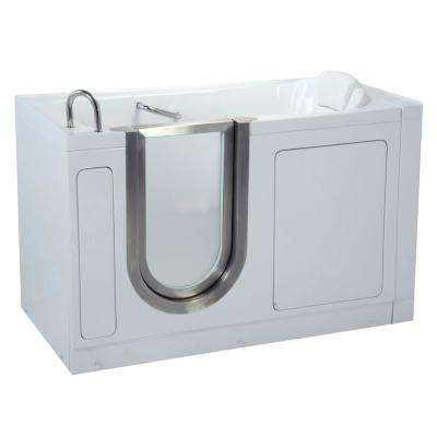 Deluxe 55 in. Acrylic Walk-In Soaking Bathtub in White with Heated Seat and Left 2 in. Dual Drain