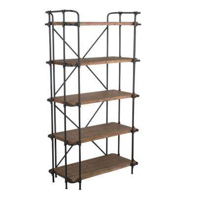 Yorktown Antique 5-Shelf Etagere Open Bookcase