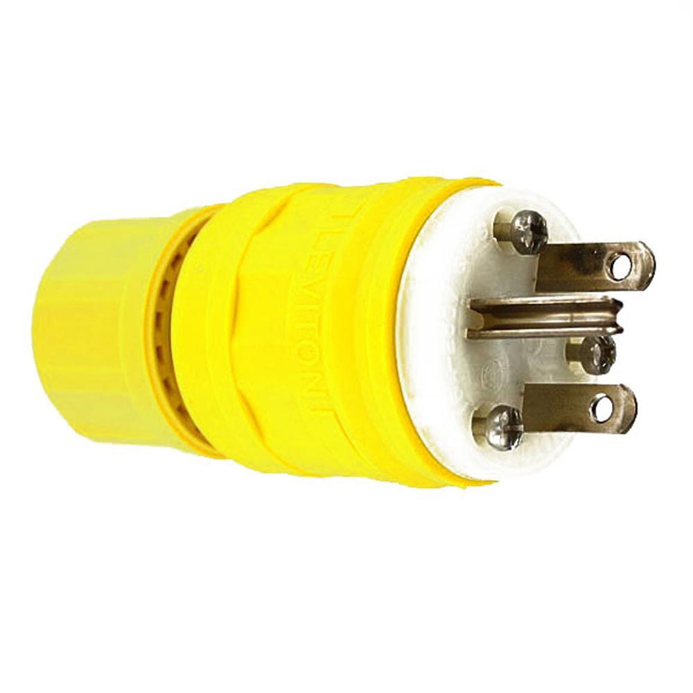 15 Amp 250-Volt Wetguard Straight Blade Grounding Plug, Yellow/White
