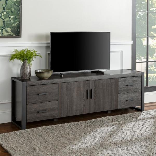 Urban Blend 71 in. Charcoal MDF TV Stand with 4 Drawer Fits TVs Up to 70 in. with Adjustable Shelves
