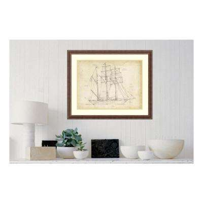 "26 in. H x 32 in. W ""Sailboat Blueprint I"" by "" Ethan Harper"" Framed Print Wall Art"